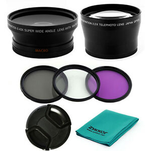 67MM-0-43x-WIDE-ANGLE-2X-TELE-LENS-UV-CPL-FLD-FILTERS-for-Nikon-P500-P510-P900