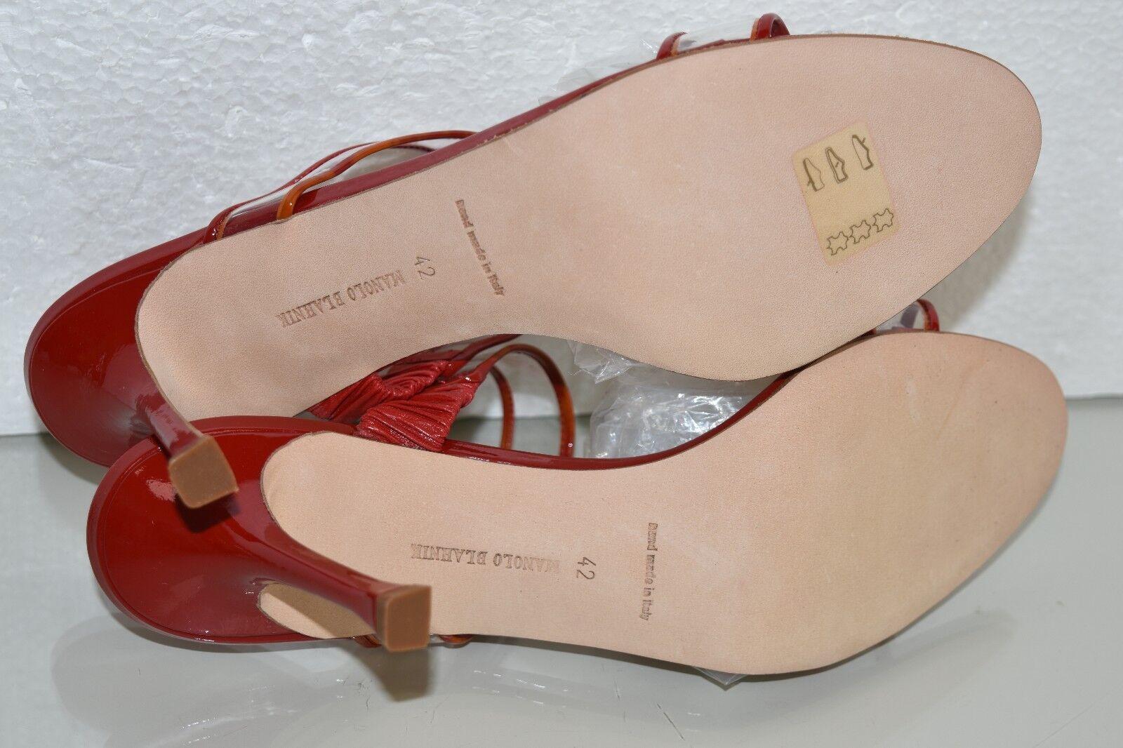 Neuf Manolo Blahnik Blahnik Blahnik Muluca PVC Sandales Verni Rouge Glissière Chaussures 37.5 98ed05