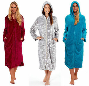 Image is loading Ladies-Hooded-Zipped-Dressing-Gown-Flannel-Fleece-Robe- 23d3e5d9e