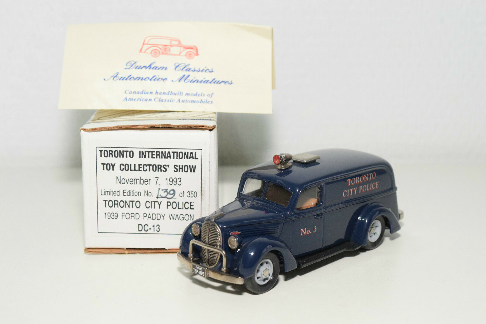 DURHAM DC-13 DC 13  FORD PADDY WAGON TorNTO CITY POLICE TOY SHOW 1993 MINT BOXED  bienvenue pour acheter