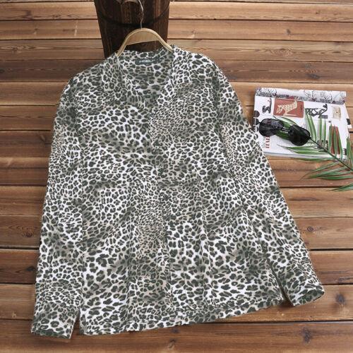 Mens Long Sleeve Leopard Shirt Summer Beach Casual Hawaiian T Shirt Blouse Tops