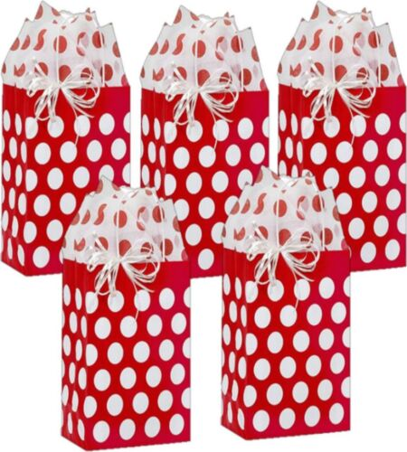 Red and White Polka Dot Small Gift Bags With Coordinating Tissue Paper 5 Count