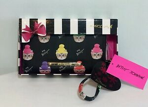 BETSEY-JOHNSON-Zip-Around-Wallet-Wristlet-Black-Kitty-Cat-Hats-Clutch-NEW-IN-BOX