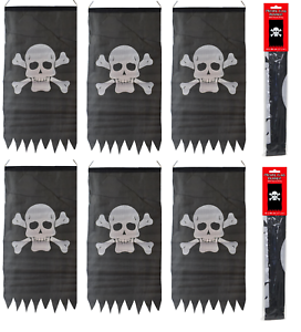 6-X-Pirate-Jolly-Roger-Skull-amp-Crossbones-Flag-Party-Bunting-Pole-amp-String-5-1m