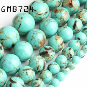 Green-Howlite-Stone-Round-Loose-Shell-Beads-for-Jewelry-Making-15-039-039-4-6-8-10MM
