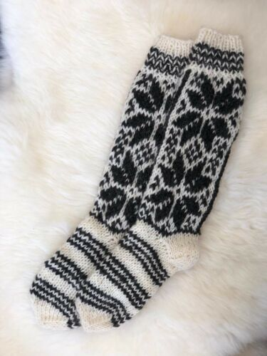 Genuine Natural Pure Sheep Wool Hand Knitted Long Length Sofa Bed Socks Size7-10