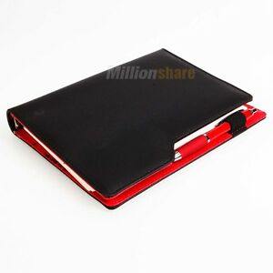 Practical-A5-100-Sheets-Loose-Leaf-Notebook-Notepad-Address-Book-with-Pen-Black