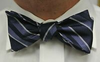 "NEW! Hand Made.100% Silk NAVY Stripes SELF TIE Bow Tie. 2.5"" wide."