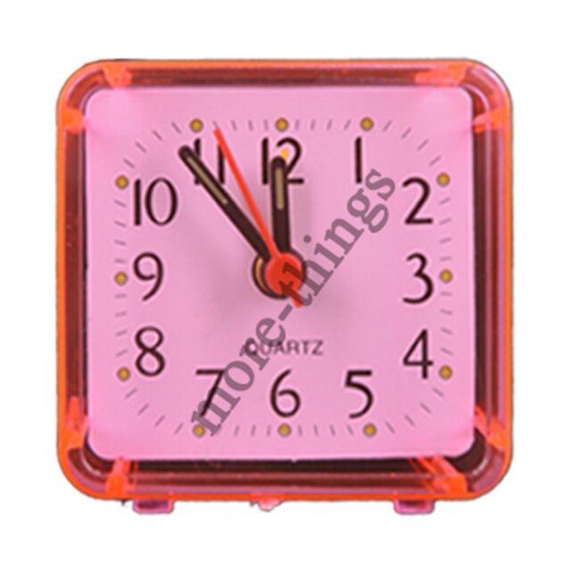 Quartz Mini Table Alarm Clock Travel Small Size  Portable Pink Color