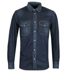 Mens-Diesel-D-Rooke-Dark-Blue-Denim-Long-Sleeve-Shirt-with-Two-Chest-Pockets