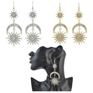 Vintage-Star-Burst-Earrings-Star-Crescent-Moon-Dangle-Hook-Crystal-Earrings
