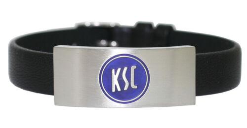 Karlsruher SC Edelstahl Leder Armband Gravurplatte KSC 9-10110 69400113