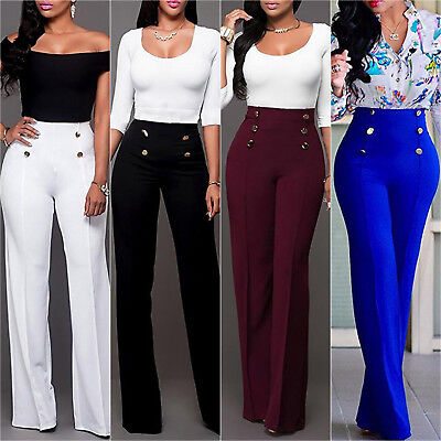 Ladies Women Lace Up High Waist Wide Leg Palazzo Casual Pants Plain OL Trousers