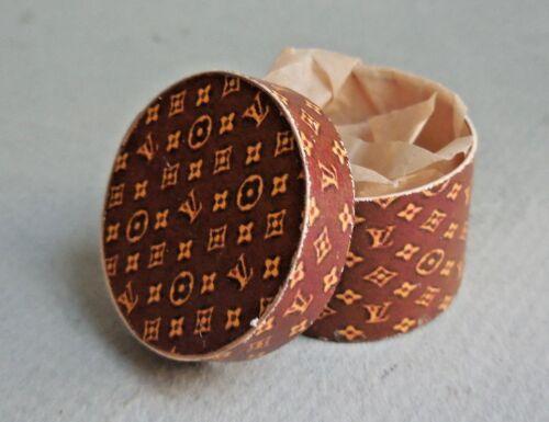 DOLLHOUSE MINIATURE ~ BROWN ROUND BOX  by LORRAINE SCUDERI