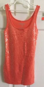 1e3f626343956 Image is loading NWT-Ladies-Old-Navy-Sequin-Coral-Tank-Top-