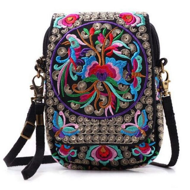 New Women Mini Shoulder Bag Cell Phone Cash Crossbody Bag Embroidered Wallet