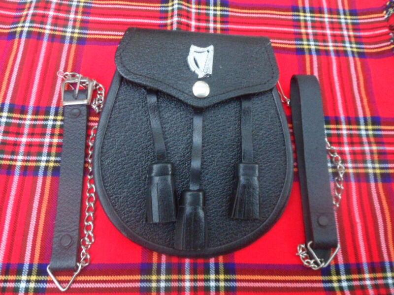 Hombres Kilt Sporran Negro De Cuero De Vestir Completo Con Cardo Escocés Cantle Bovina