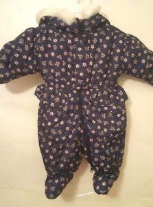 Genteel Oshkosh Infant Girl's Size 3-6 Months Blue Print Snowsuit Girls' Clothing (newborn-5t) Nwots Clothing, Shoes & Accessories