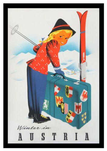 Winter in Austria Vintage Travel Poster Print Design Wall Retro Tourism Decor