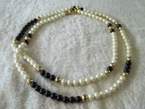 Vintage-Signed-034-Dell-039-Olio-034-Necklace-Faux-Glass-Pearls-Black-amp-Gold-Beads