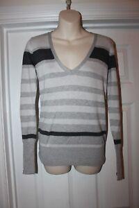 Ladies-Grey-Striped-Jumper-Size-8-Stretchy-Top-By-papaya
