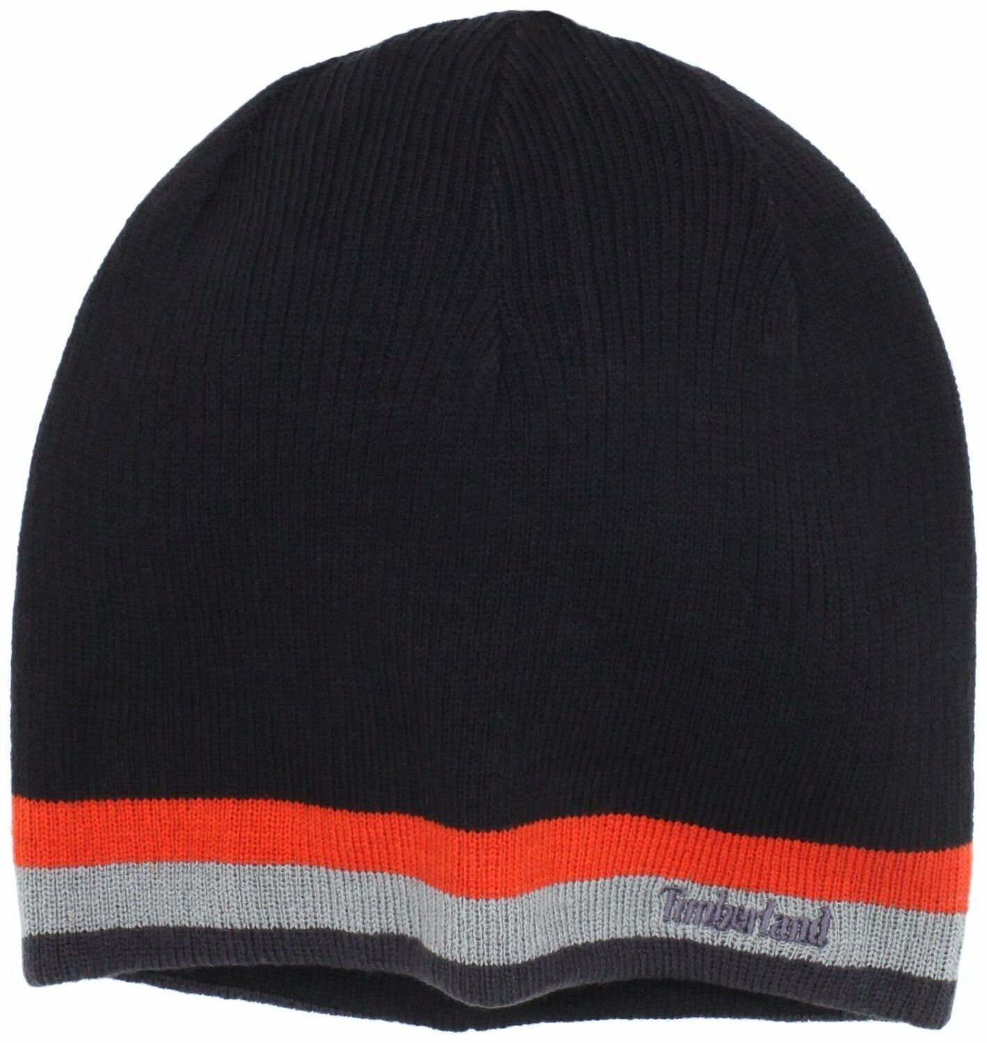 Black Timberland beanie with orange and gray stripes at the bottom