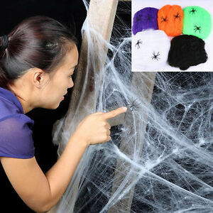 Spider-Web-Halloween-Props-Home-Party-Bar-Decor-Stretchy-Cobweb-W-2-Spider-Y1