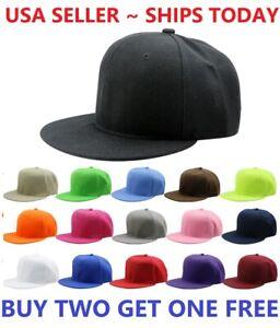Snapback-Hat-Classic-Hip-Hop-Style-Visor-Plain-Baseball-Cap-Solid-Blank-Hats-New