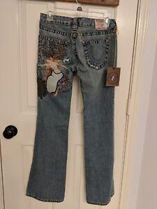 taglio ricamati Taglia 27 bootcut Nwt True bobby Jeans Ladies Religion a medio Bqq0zwT4