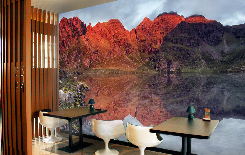3D ROT mountain River water Wall Paper Print Decal Wall Deco Indoor wall Mural