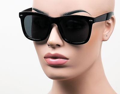 Oversized Large Classic Horned Rim Retro Sunglasses Gray Smoke Lens Black 5AF