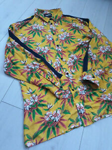 Tigha-Herren-Hemd-Fashion-look-Flower-Print-Gelb-Groesse-M