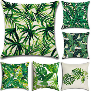 Tropical-Leaf-Print-Cushion-Cover-Cotton-Linen-Sofa-Home-Waist-Throw-Pillow-Case