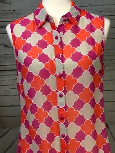 Banana-Republic-Blouse-Sheer-Pink-Sleeveless-Shirt-Womens-sz-10-Top-Button-Front