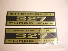 1962-1966 Chevy Impala Belair Biscayne 327 Valve Cover Decal Aluminum Pair