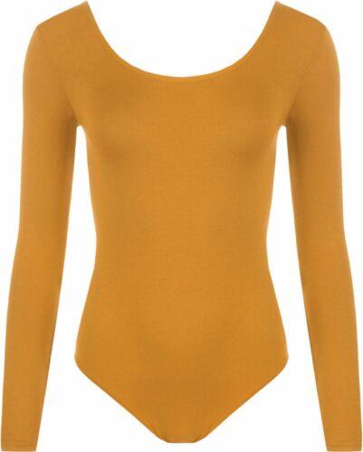 Femme manches longues encolure dégagée Body Justaucorps Femme Body Haut tshirt