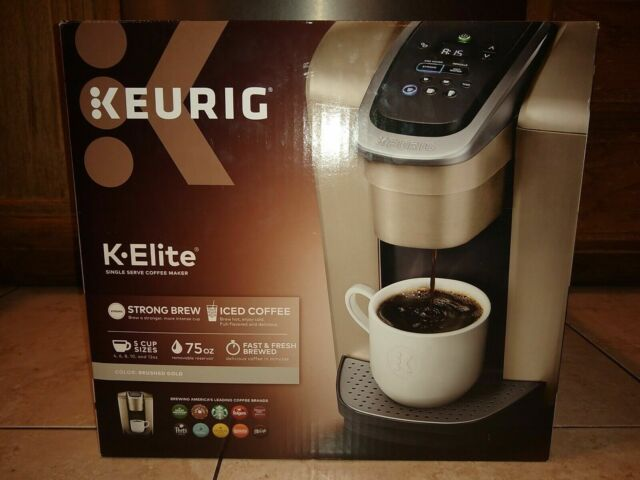 Keurig K-Elite Single Serve Coffee Maker K-Cup Pod Brewer Machine, Brushed Gold