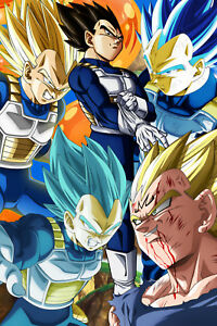dragon ball z super poster vegeta five different forms 12inx18in