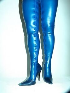 Latex Rubber Fetish Boots Size 4 12 Heels 5 5 13cm Producer Poland Blue Ebay