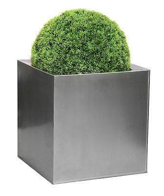 Zinc Galvanised Steel Silver Cube Planter Patio Garden Plant Flower Pot Outdoor