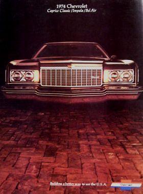 Caprice Classic Impala Bel Air 1974 Chevrolet Brochure