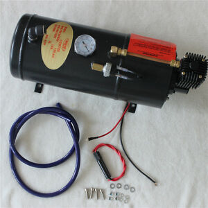 12V TRUCK PICKUP ON BOARD AIR HORN AIR COMPRESSOR WITH 3 LITER TANK 125PSI NEW