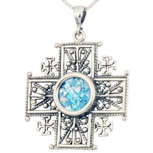 Details about Roman Glass Jewelry 'Jerusalem Cross' Pendant - 925 Silver  with FREE Shipping!!!