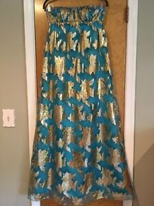 Aqua Dresses Strapless Evening Prom Gown Blue with Gold Leaf Sz 2 WORN ONCE