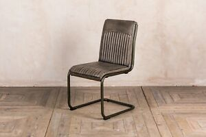 Image is loading INDUSTRIAL-STYLE-UPHOLSTERED-DINING-CHAIR-LEATHER-LOOK- KITCHEN- & industrial style upholstered dining chair leather look kitchen chairs in ...