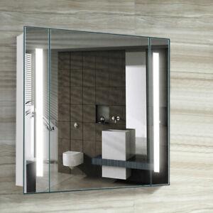 Details About Bathroom Mirror Cabinet With Led Lights Strip Shaver Socket Sensor Demister Pad