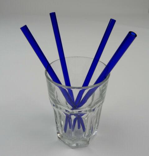 4x Verre Pailles glastrinkhalme glasstrohhalme boissons roseau tiges brosse bleu