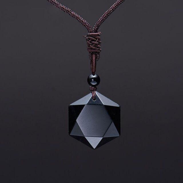 84f7395a4243ed Natural Black Obsidian Cubic Hexagram Pendant Necklace, Amulet, Talisman,  David