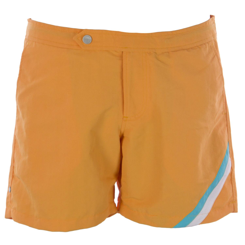 OLASUL Men's orange 6  Solid Swim Trunks NEW