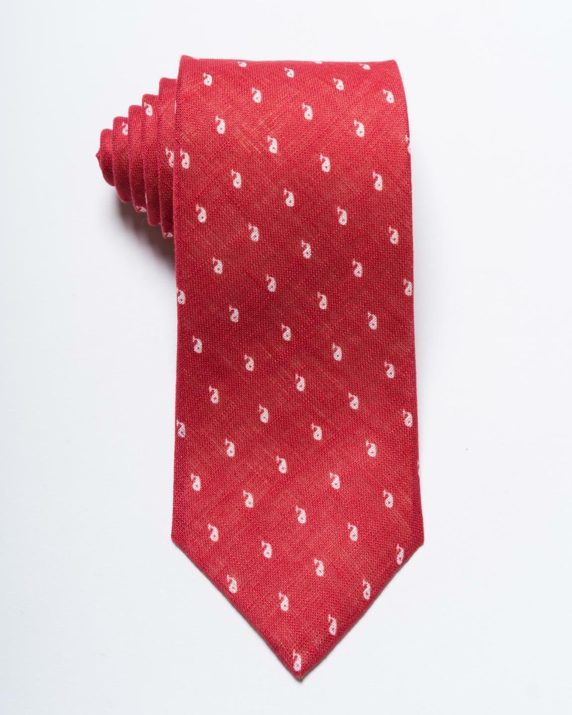 Isaia Napoli Nwt Rot Weiß Klein Wal Aufdruck 100% Leinen Krawatte 3.25